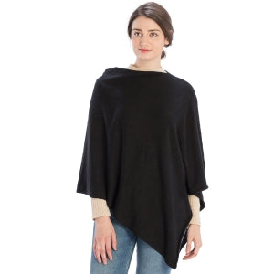 Cashmere Blend Solid Poncho