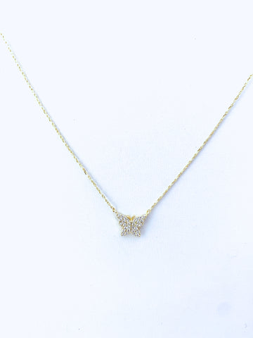 Gold Butterfly Necklace with CZ Detail