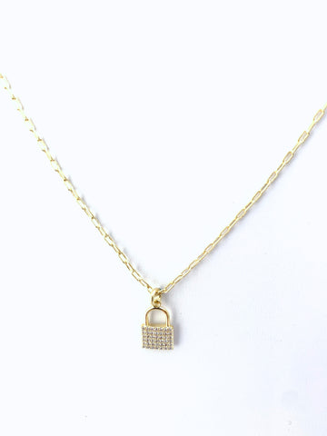 Gold Padlock Necklace on Paperclip Chain with CZ Detail