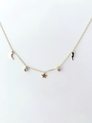 Moon, Star, Lightning Bolt Shiny Gold Necklace with CZ Detail