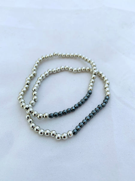 4mm Beaded Ball Stretch Bracelet with Gun Metal Contrast Bead Detail