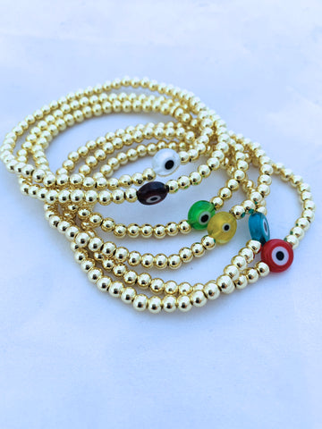 4mm Beaded Ball Stretch Bracelet with Evil Eye Detail
