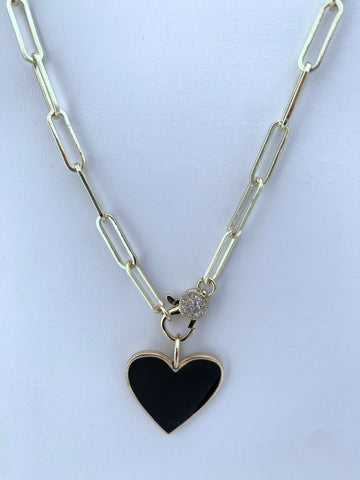 CZ Clasp Paperclip Chain with Epoxy Heart Charm
