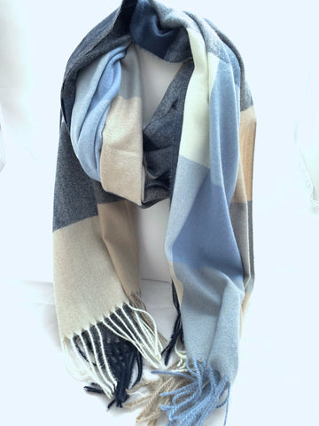 Color Block Scarf with Fringe Detail