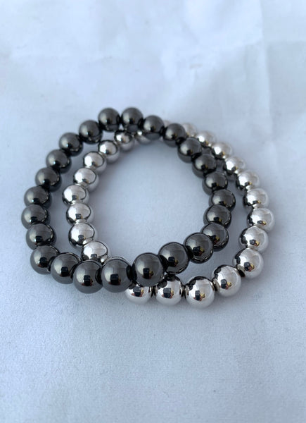 8mm Beaded Ball Stretch Bracelet