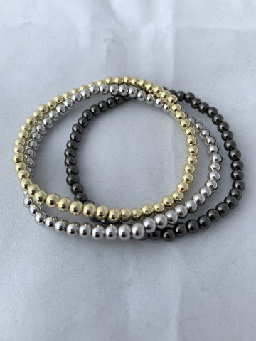 4 mm Beaded Ball Stretch Bracelet