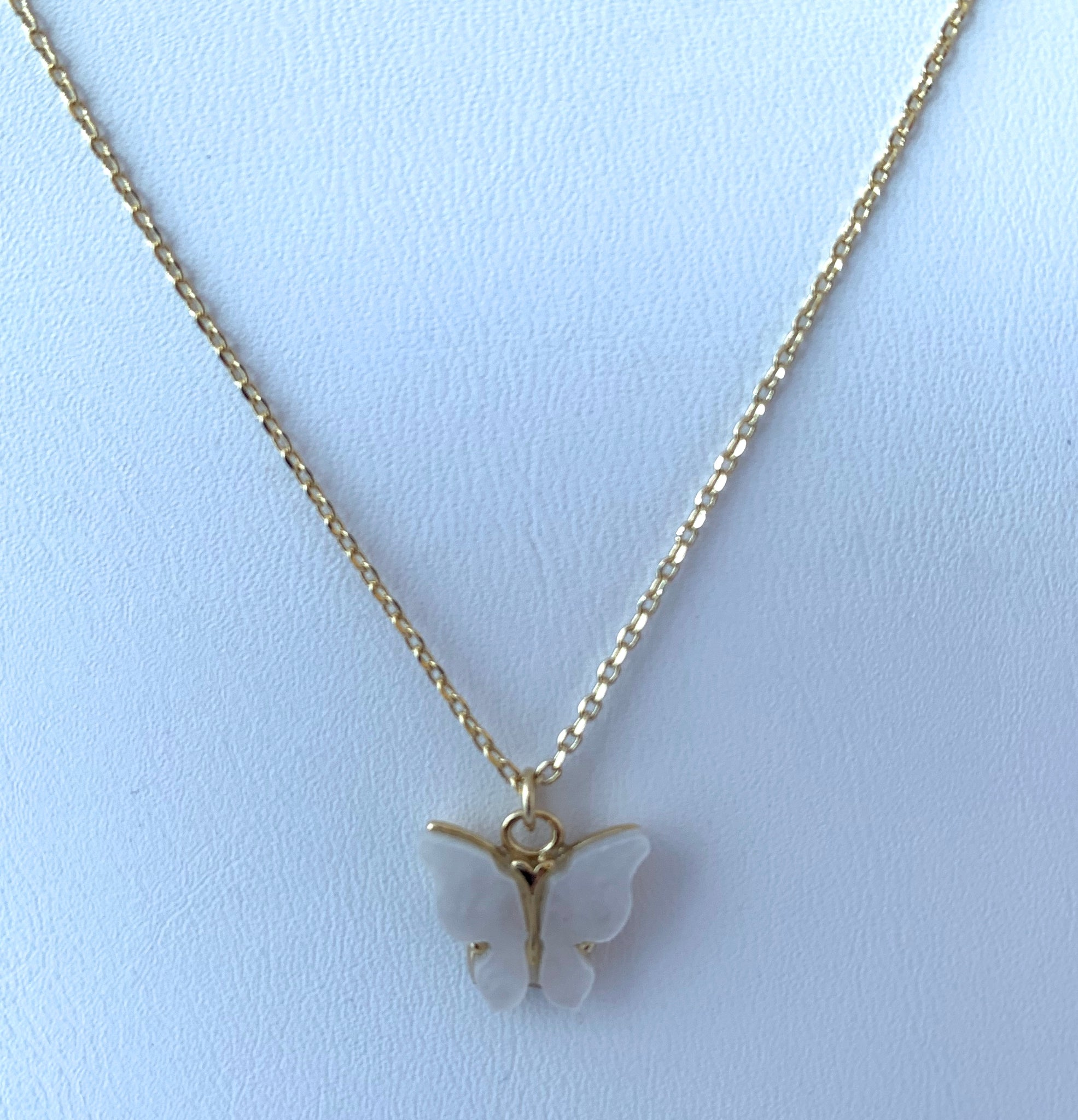White Butterfly Necklace on Gold Chain
