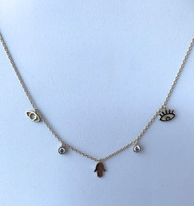 Evil Eye and Hamsa Gold Necklace with CZ Detail