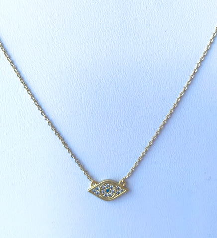 Evil Eye Necklace on Gold Chain with CZ Details