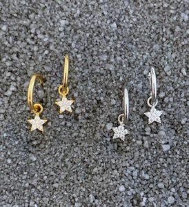 CZ Star Hoop Earrings
