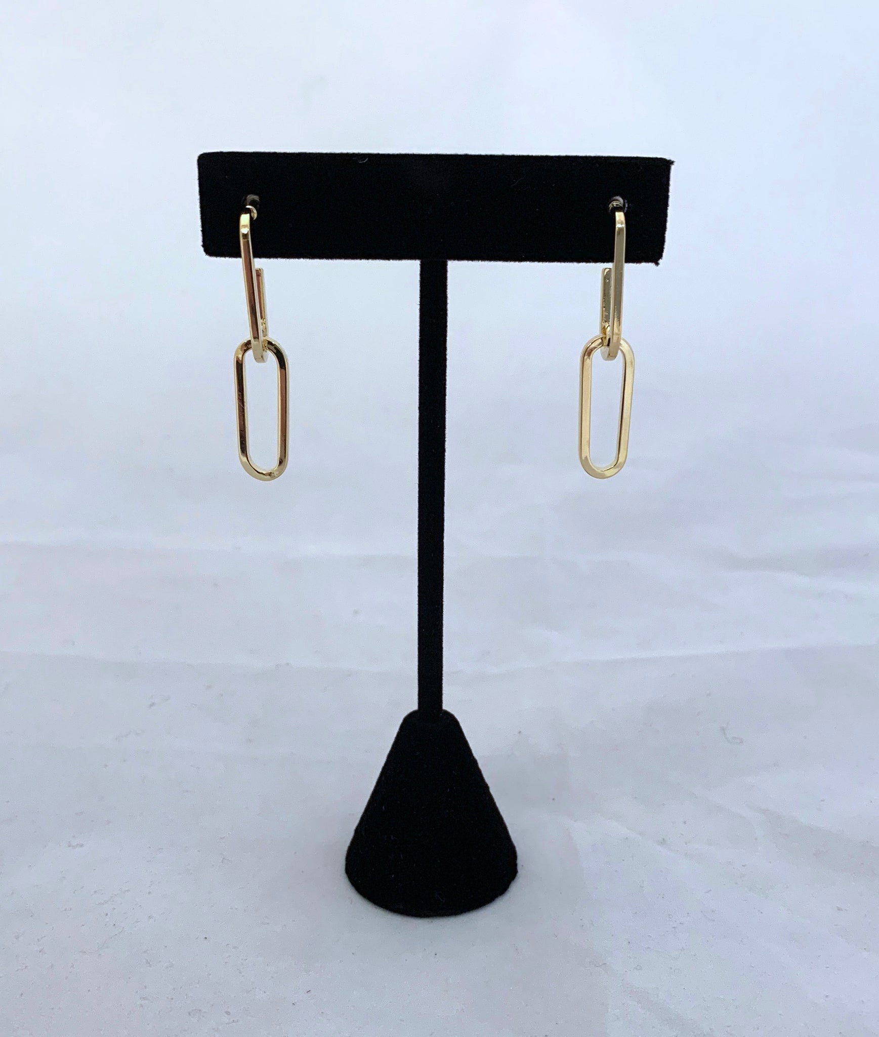 Gold Paperclip Earrings - 2 Links