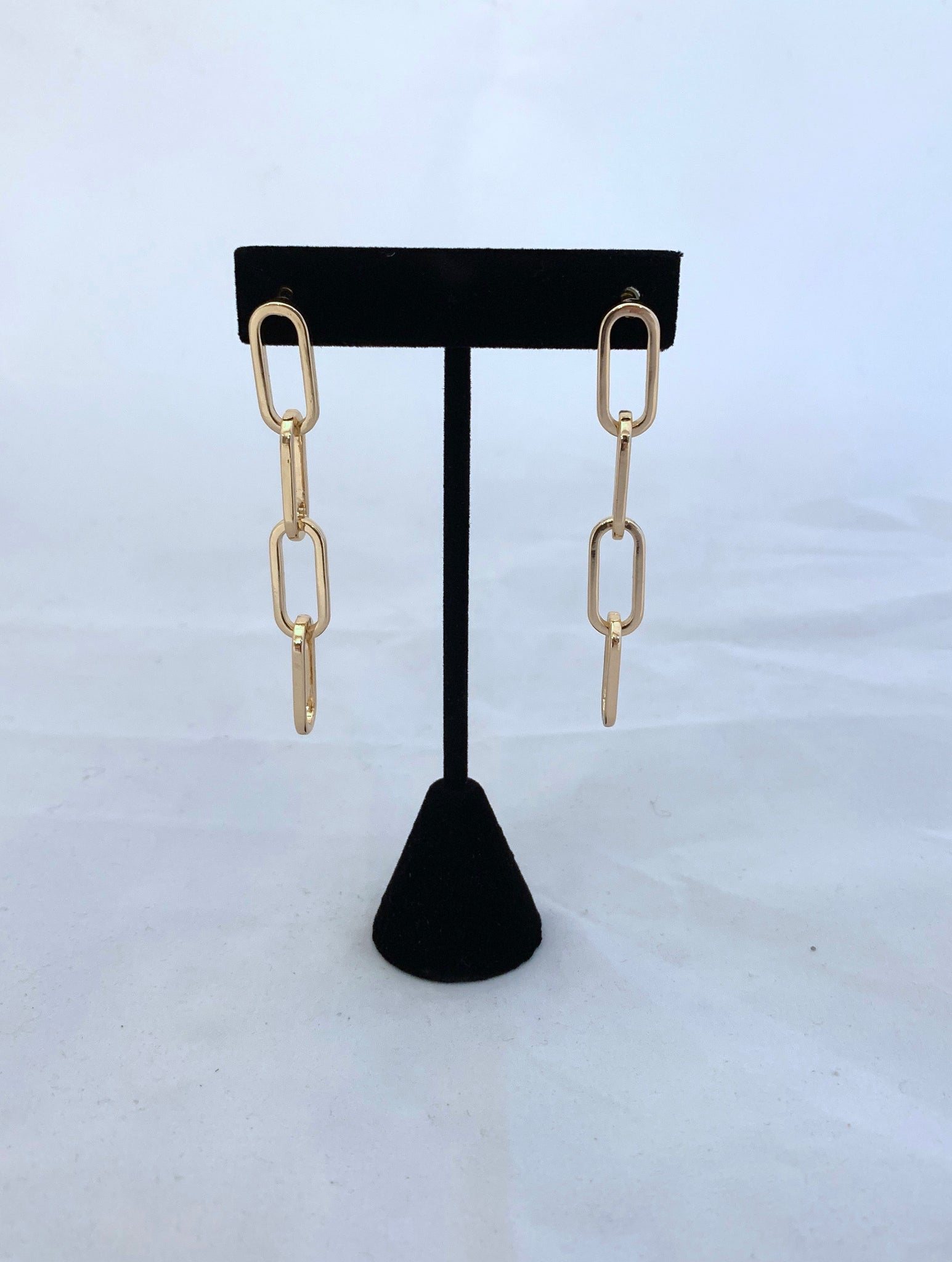 Gold Paperclip Earrings - 4 Links