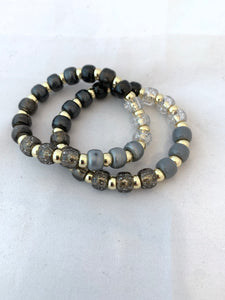 Beaded Stretch Bracelet - Clear, Grey, Charcoal, Black and Gold Beads