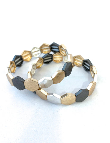 Hexagon Shaped TIle Bracelet - Gold/Silver/Black