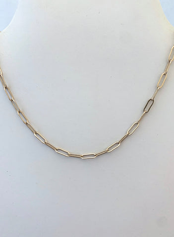 Gold Paperclip Necklace - Small Size Link