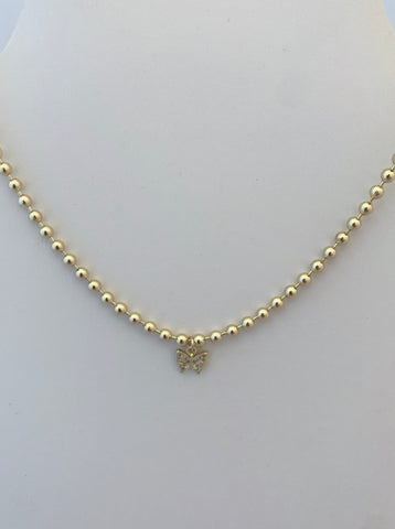 Gold Ball Necklace with CZ Butterfly Charm