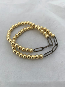 6mm Beaded Ball Stretch Bracelet with Gun Metal Paperclip Link