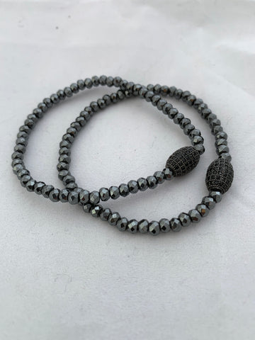 4mm Gun Metal Faceted Beaded Ball Stretch Bracelet with CZ Oval