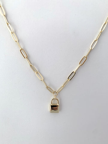 Gold Padlock Necklace on Paperclip Chain