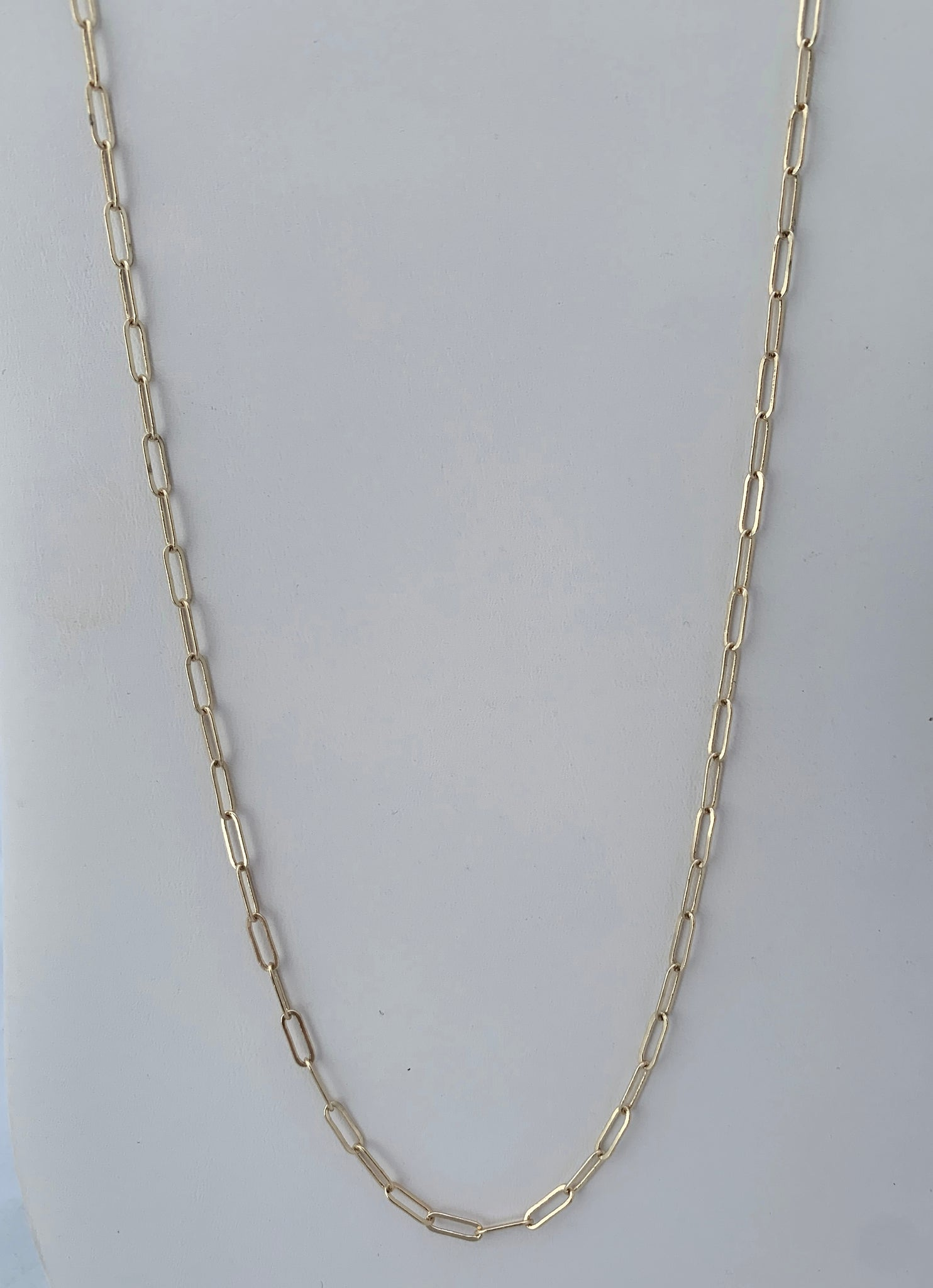 Long Gold Paperclip Necklace