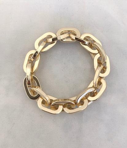 Chunky Shiny Gold Link Stretch Bracelet