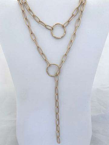 Faux Lariat Matte Gold Chain Necklace