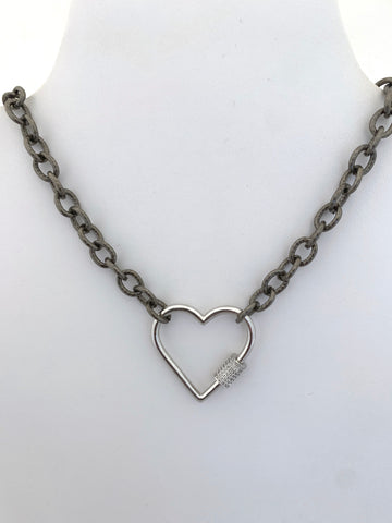 Heart Necklace on Gun Metal Chain