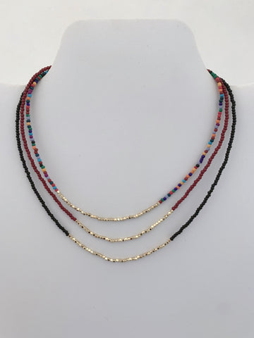 Simple Beaded Necklace with Gold Bead Detail