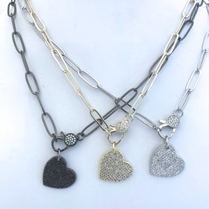 CZ Dangling Heart on Paperclip Chain