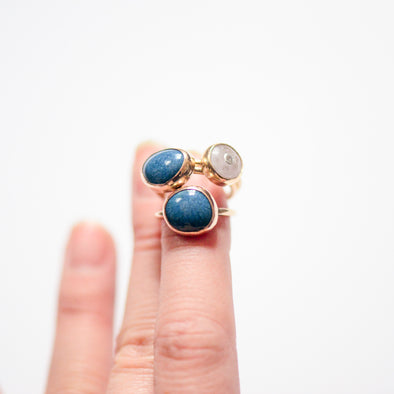 azurite colored teal rings