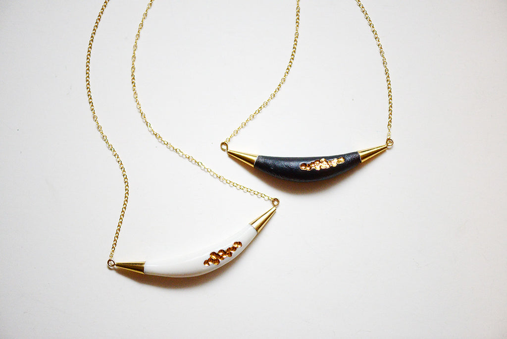 Carved Arc Necklace, porcelain jewelry, porcelain and stone, porcelain and gold jewelry