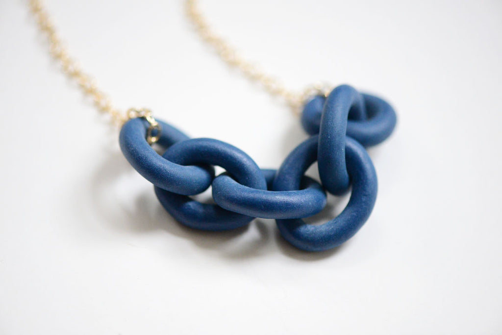 navy harbor chain necklace, porcelain and stone jewelry, made in boston