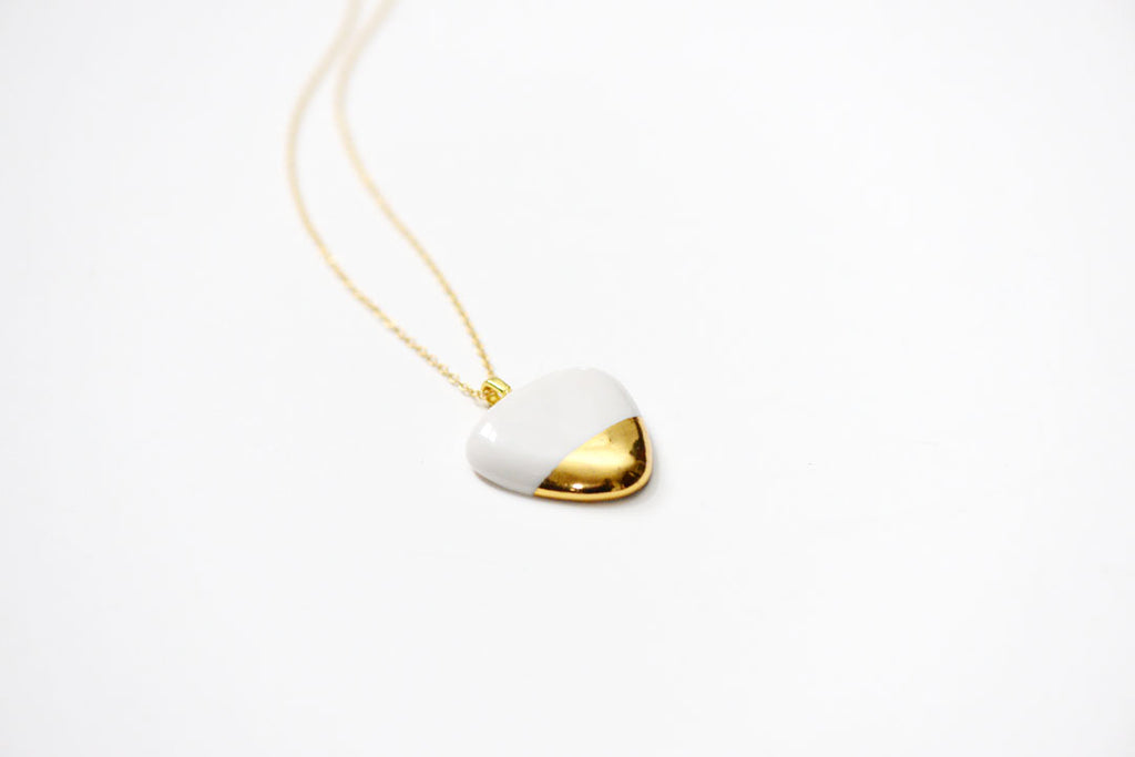 porcelain and stone jewelry, gold necklace, made in boston