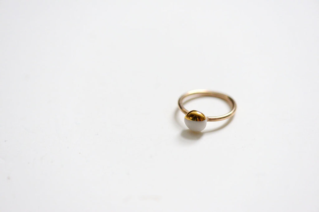 porcelain and gold engagement ring by porcelain and stone