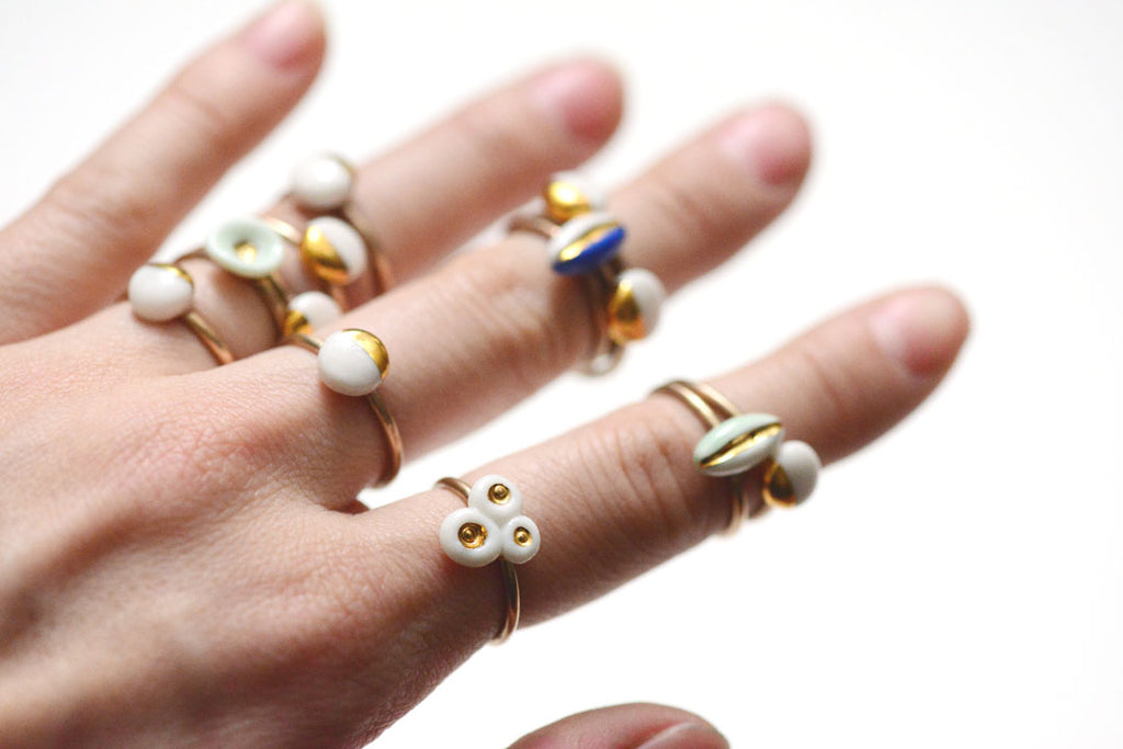 unique porcelain rings, made by PorcelainAndStone.com, beach ready