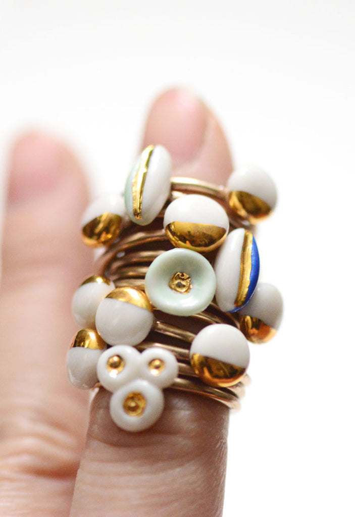 unique porcelain rings, made by PorcelainAndStone.com, American made in Boston