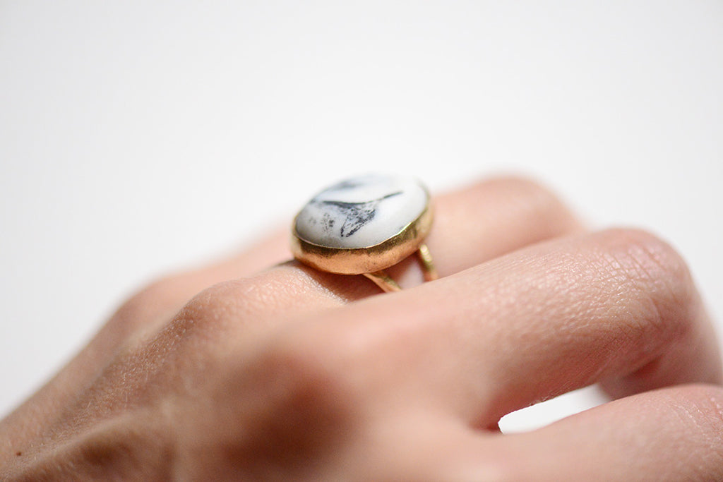 porcelain ring, marbled ring, marbled porcelain, porcelain jewelry, porcelain and stone