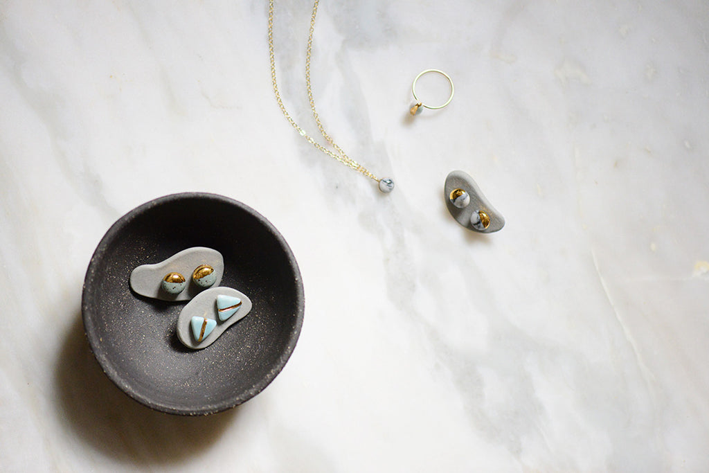 porcelain jewelry by Porcelain and Stone, made in Boston, MA