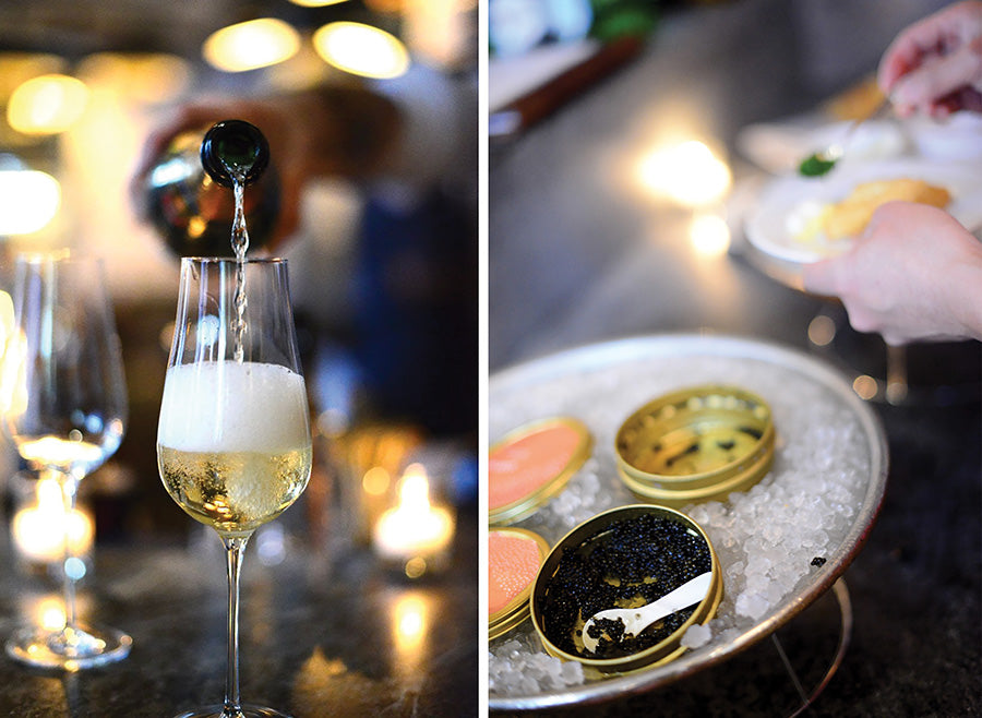 champagne and caviar, Les Sablons Cambridge MA