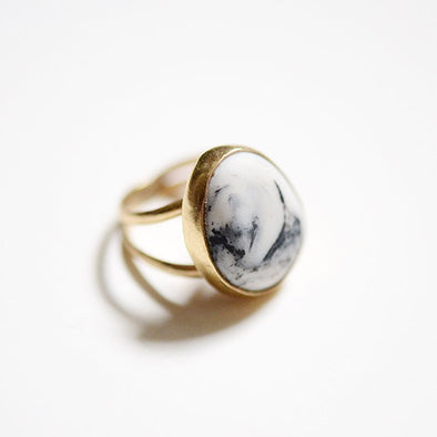 Marbled Porcelain Pebble Ring