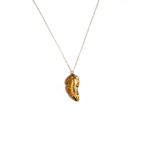 Feather Necklace - Gold Feather
