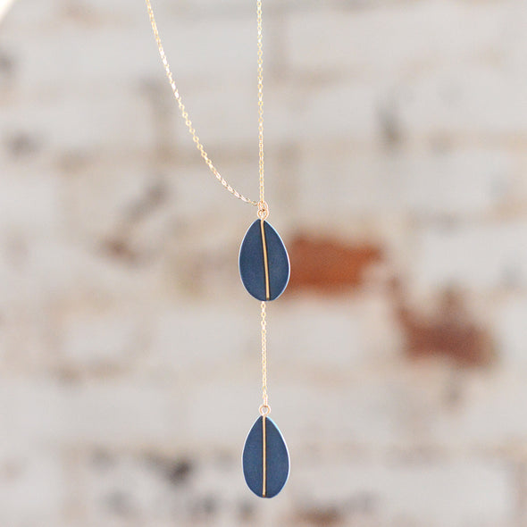 Navy Double Teardrop - Porcelain Necklace