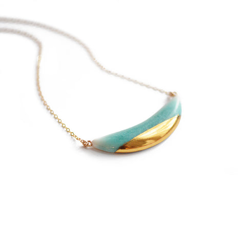 Dipped Porcelain Mini Crescent Wave - Aqua