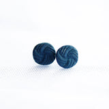 Navy Round Knot Porcelain Stud Earrings