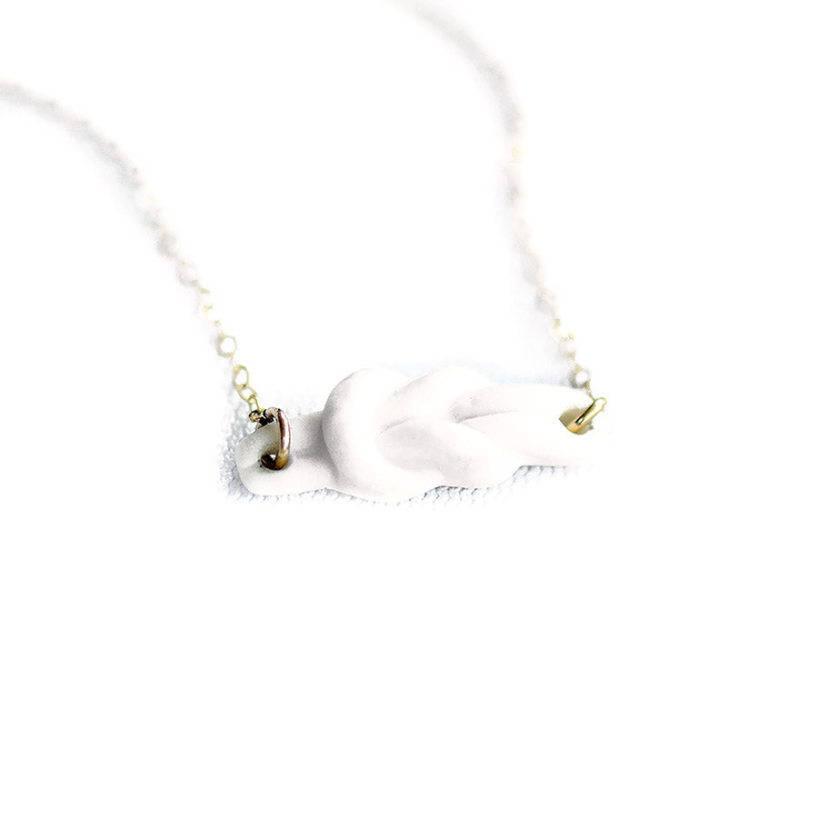 White Reef Knot Porcelain Necklace