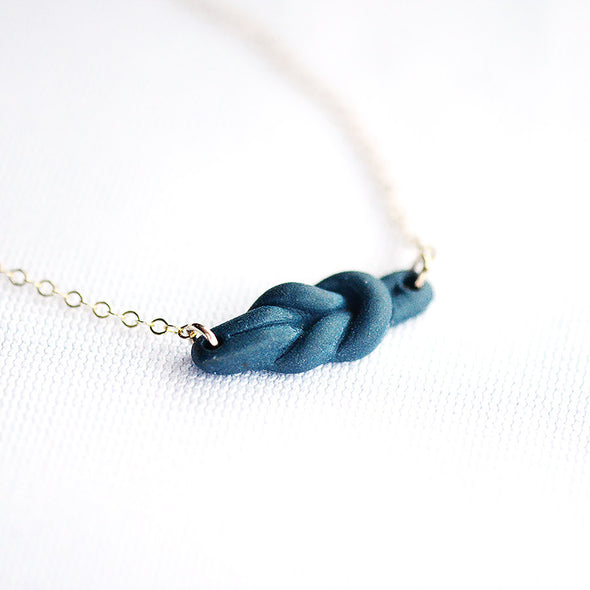 Navy Reef Knot Porcelain Necklace