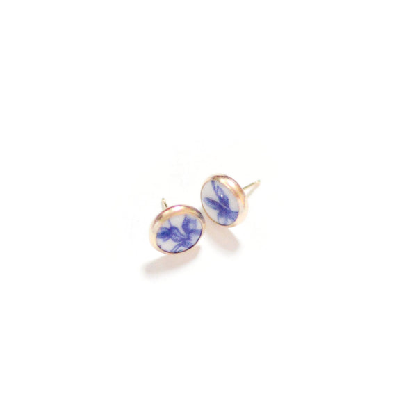 Blue and White Heritage Studs - porcelain earrings
