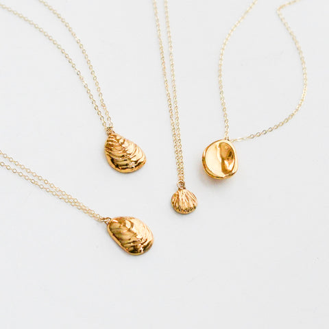 Oyster Shell Necklace - Oyster + Gold Porcelain Necklace