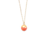 Satin Coral Dipped Buoy Charm Necklace - Porcelain and Stone
