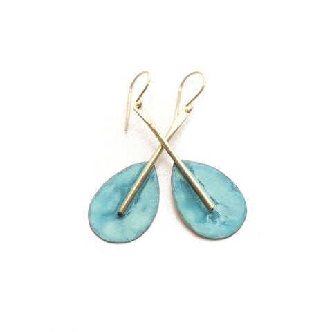 Patina Oar Dangle Earrings - Forged and Oxidized Brass on 14k Goldfilled posts